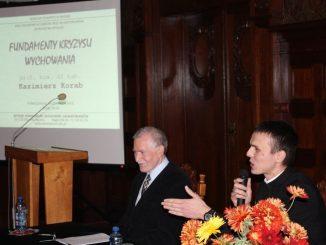 """W poniedziałek, 19 listopada, w seminarium salwatorianów w Bagnie, odbył się wykład otwarty prof. nzw. dr hab. Kazimierza Koraba na temat: """"Fundamenty kryzysu wychowania""""."""