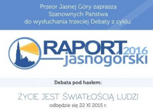 Zaproszenie na debatę 'Raport Jasnogórski 2016'