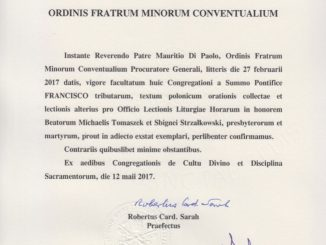 Kongregacja ds. Kultu Bożego i Dyscypliny Sakramentów zatwierdziła teksty liturgiczne ku czci błogosławionych Michała Tomaszka i Zbigniewa Strzałkowskiego w języku polskim.