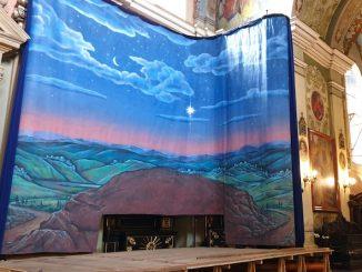 W ostatni piątek listopada została zainstalowana w bazylice panorama, która jest tłem szopki bożonarodzeniowej.