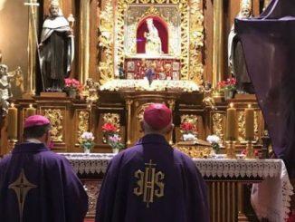 Biskup płocki Piotr Libera i jego biskup pomocniczy Mirosław Milewski 31 marca 2020 r. zawierzyli diecezję płocką Matce Bożej Bolesnej: